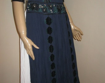 Antique hand embroidered and hand pleated Hungarian Kalotaszeg apron and skirt
