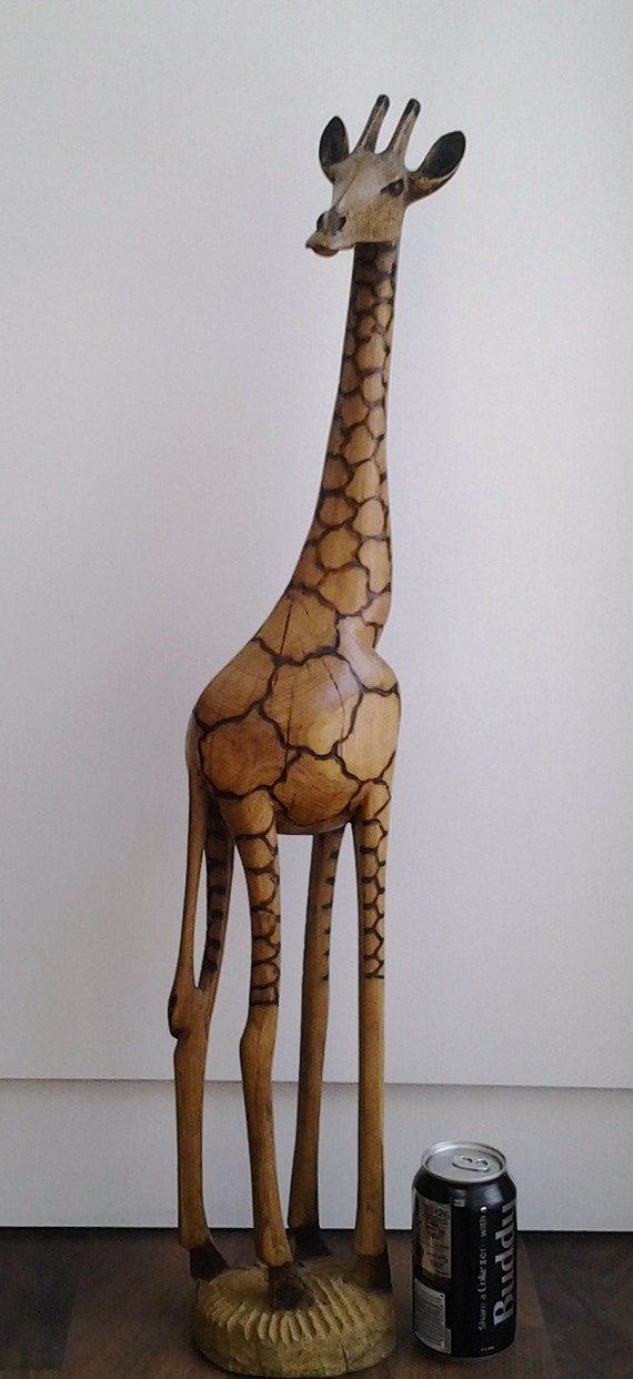Giraffe statue tall wood hand carved out of africa