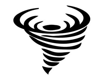 Tornado, Cyclone, Hurricane Silhouette - Car/Truck/Computer/Laptop/Phone/Home Decal  (Listing #DP00004)