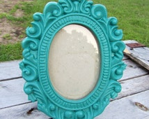 Shabby Chic Teal Picture Frame, Ornate Frame, Baroque Frame,Small  Frame,Nursery Decor, Princess Frame,Mantle Frame Size 6x8