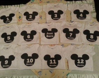 Month By Month onesies Mickey Design