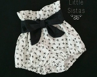 White & Black 'Floral' High Waist Bloomers with belt ~ Baby Toddler Bloomie shorts
