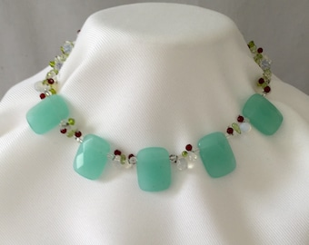 Chalcedony, Necklace- Estate Beaded Necklace Small Peridot, Garnet and Crystal Beads