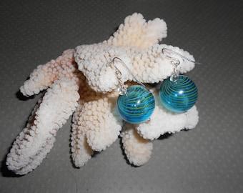 Sterling Silver Hollow Glass Bead Dangle Earrings
