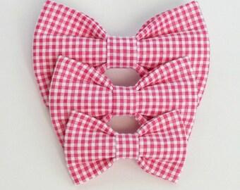 Pink Seersucker Gingham Dog bow tie, Cat bow tie, pet bow tie, collar bow tie, wedding bow tie