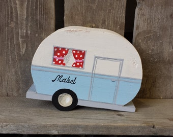 Personalised Wooden Caravan Decoration