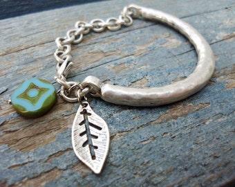 Boho Bracelet Silver bangle Bracelet turquoise bracelet feather charm Navajo Tribal adjustable stackable bracelet