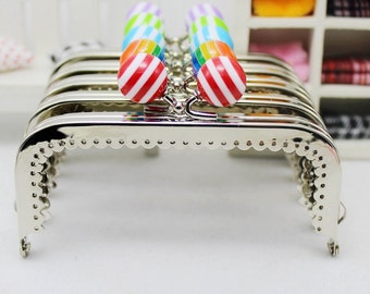 1 PCS of 10.5cm / 4.1 inch Ocean Striped Beads Smooth Laciness Squared Silver Purse Frame, 6 Colors