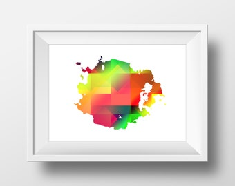 Modern art print on paper - white background with rainbow colors  - Cheerful splash in various sizes ( A4 , A3 +)