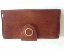AMITY Cowhide Leather WALLET Copper Tone   Metal Elements