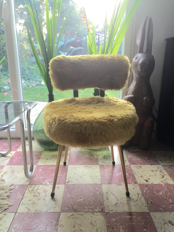 Chaise fausse fourrure seventies jaune tilleul for Chaise fourrure