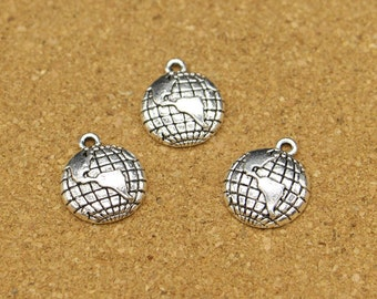 20pcs  Planet Earth Charms Antique Silver Tone Globe Detailed Charm 16x19mm TS367