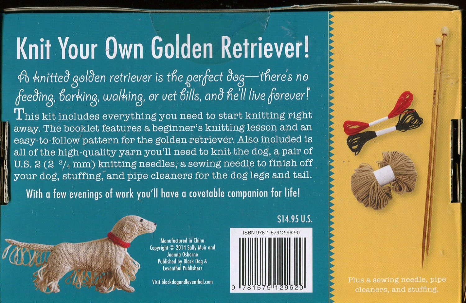 Knit Your Own Dog Kit Golden Retriever By Sally Muir And