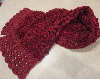 Knit Raspberry Chanel Scarf with a Crochet Lace
