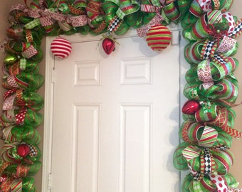 Whimsical Christmas Garland - Red and Green Door Garland - Christmas Door Swag - Deluxe Christmas Garland - Mantel Garland- Door Garland