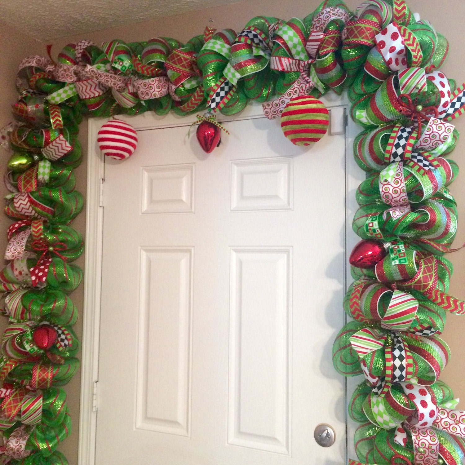 Whimsical christmas garland red and green door garland for Door garland christmas