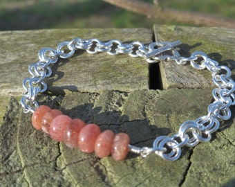 Shimmering Sunstone & Sterling Silver Chainmaille Bracelet - With Karen Hill Tribe Silver Toggle Clasp - Hippy Magic