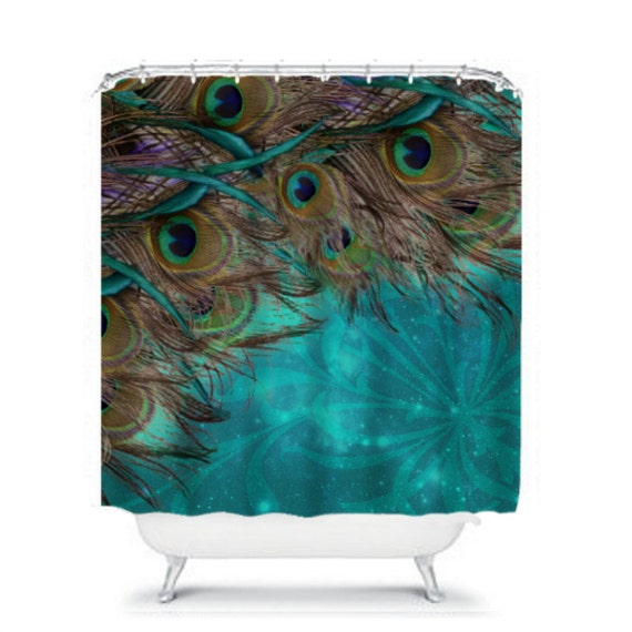 Shower Curtain Turquoise Peacock Beautiful By Folkandfunky