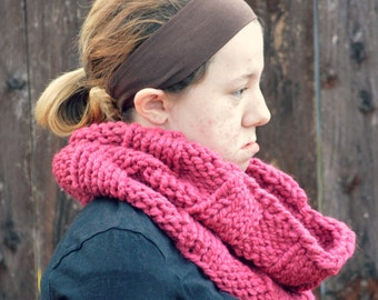 large ribbed and handknit oversized chunky scarf cowl - in pink bulky yarn