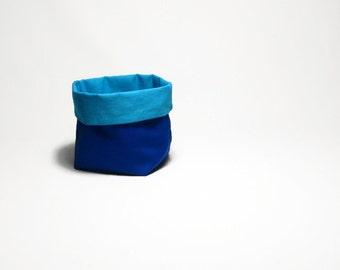 Reversible small gift basket, storage bin, bathroom storage basket, clip basket, tampon bin, blue, light blue, reusable gift basket