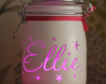 Personalised Glass Jar Love-Lite Jar - personalised with the name of your choice
