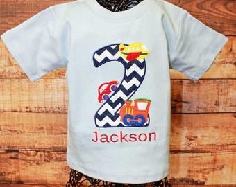 Boy Airplane Car Train Applique Birthday Shirt, Transportation Boy Birthday Shirt