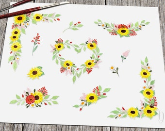 "Handpainted clipart sunflower clip art watercolor - ""Hannah's sunflower"""