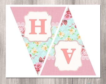 Shabby Chic Printable Banner, Floral Banner, Girl Birthday Banner, Tea Party Banner, Printable Banner, Pink banner, digital banner