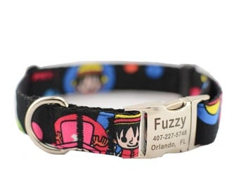 Dog Collar with Personalized Buckle,Cartoon One Piece,Fabric 282,1 inch wide