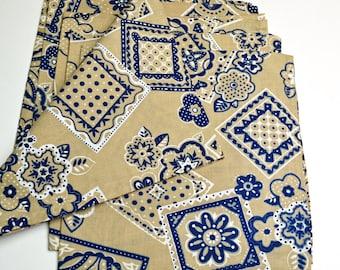 Napkins Khaki with Blue Floral Design Cotton Set of 6