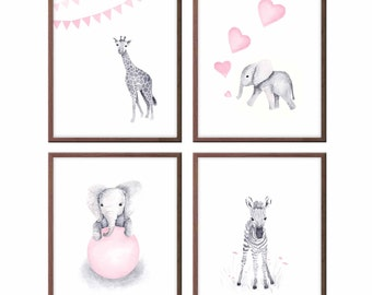 Baby Animals Wall Art Nursery Decor, Pink and Gray, Baby Elephant, Zebra, Giraffe, Art for Baby Girl, Wall Art, Set of 4 Prints - S401