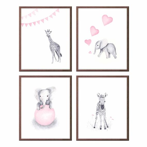 Baby Animals Wall Art Nursery Decor Pink And Gray Baby