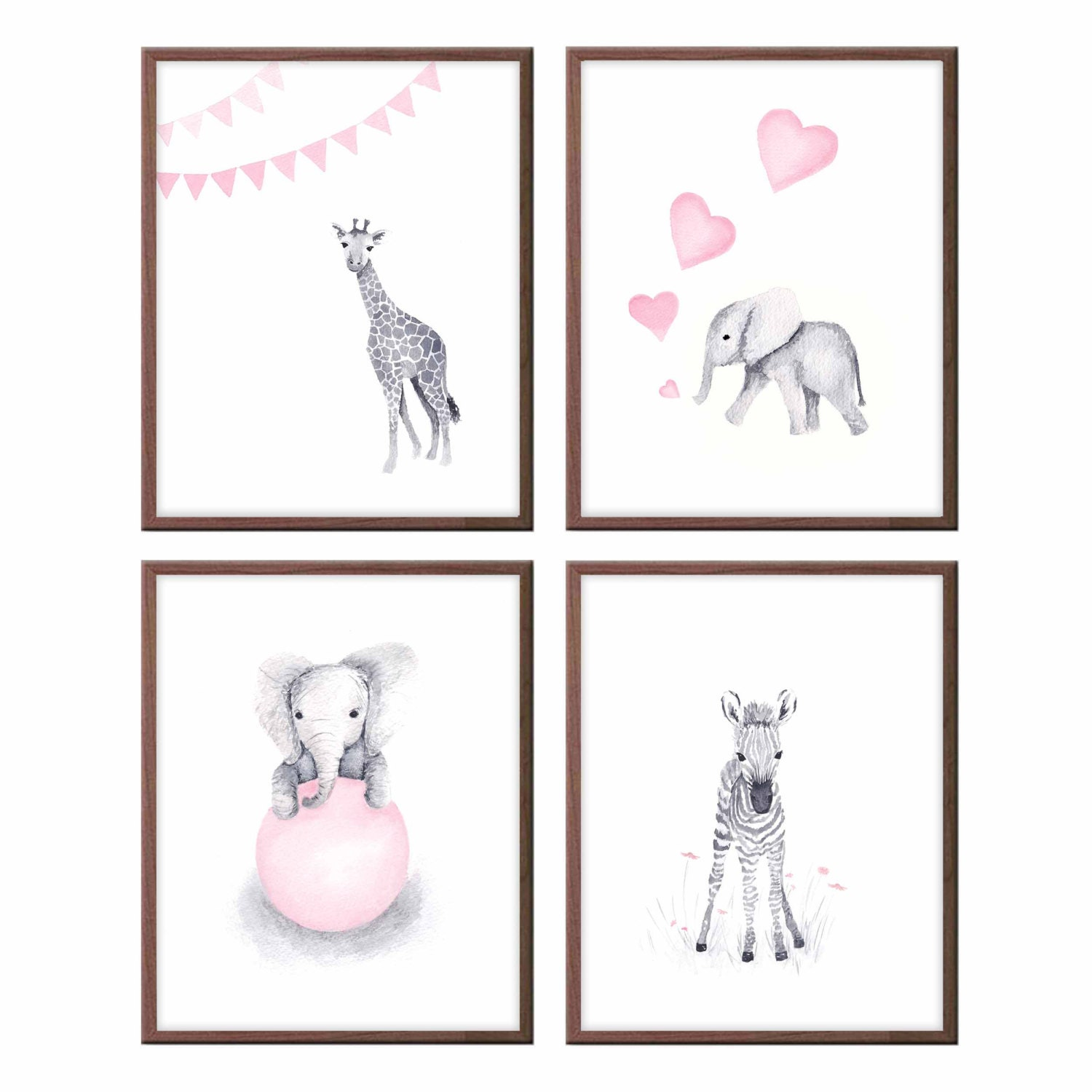 Baby animals wall art nursery decor pink and gray baby for Pink wall art