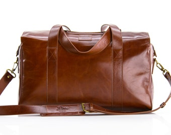 The Fulton - Handmade Leather Duffle Bag / Shoulder bag / carry on /  Laptop / Overnight / Mac book / iPad / iPhone / Professional / luggage