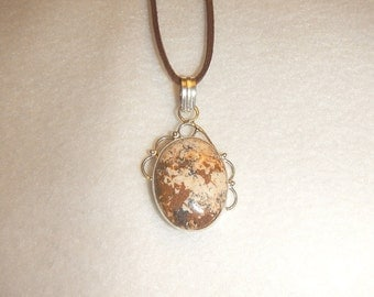 PAY IT FORWARD - Oval Picture Jasper pendant necklace set in .925 sterling silver (P246)