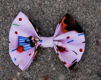 Handmade cupcake/sweets fabric hair bow