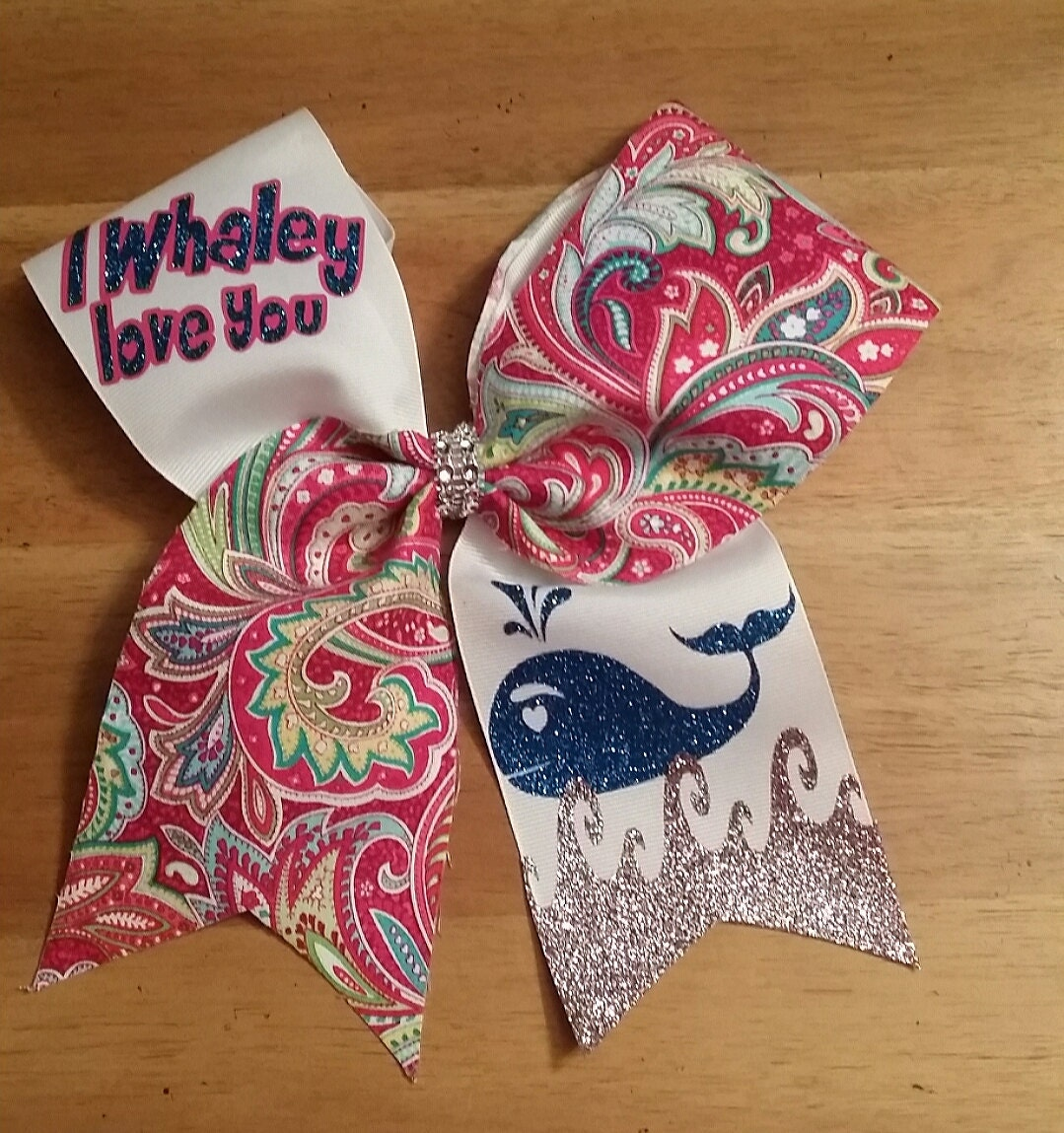 i Whaley love you.Cheer Bow Paisley Print Bow cheerbow