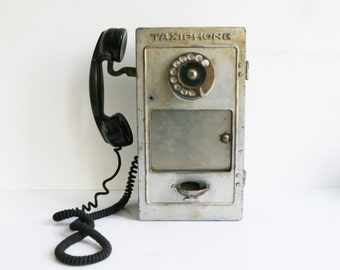 """1940s French payphone, """"Taxiphone"""", vintage public telephone, pay phone, industrial decor, bakelite, metal, vintage home decor"""