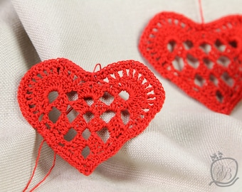 Crochet Red Heart ornament Valentine ornament Home decoration Red Crochet Heart Valentine's decoration