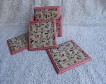 Pink coasters with holder/ handmade decoupage coasters with holder, handpainted coasters