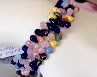 Colorful & Teary Memory Wire Bracelet - handmade in the U.S.