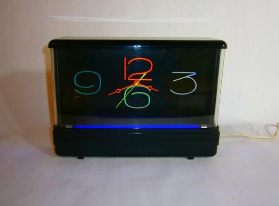 Vintage Black Light Clock Neon By Gemini Display 1988