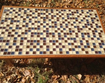 Handcrafted Reclaimed Oak and Glass Mosaic Tile Coffee Table