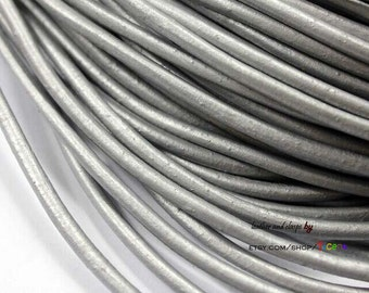 4mm Metallic Silver Leather Cords, Round Real Cowhide Leather Color-1.5 Yards RLG4M216