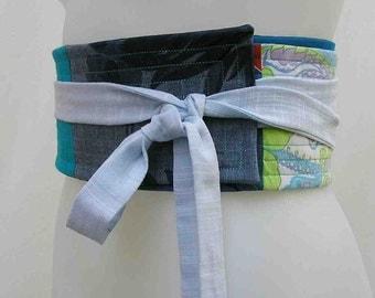 Blue obi belt, blue belt, Plus size belt, plus size sash, plus size wrap belt, upcycled belt, patchwork obi, fabric belt, fabric sash, blues
