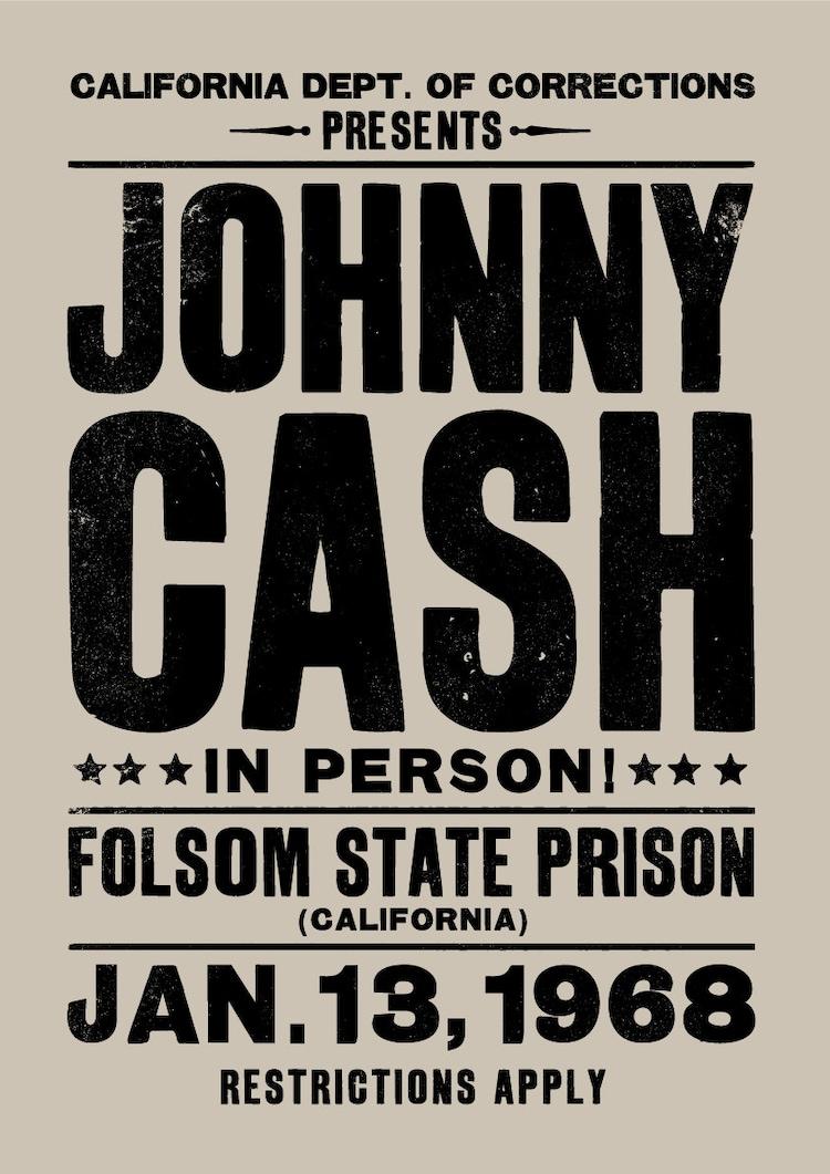 johnny cash concert poster johnny cash art print by theindoortype. Black Bedroom Furniture Sets. Home Design Ideas