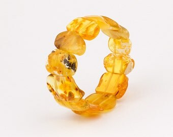 Natural Baltic Amber Adult Stretch Bracelet - Yellow Color