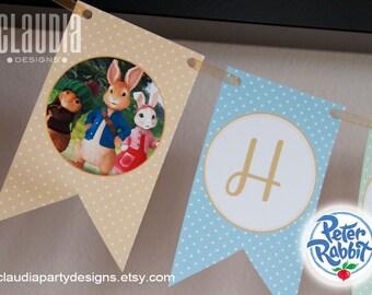 Peter Rabbit Birthday Banner - Peter Rabbit Banner - Bunny Birthday Banner - Birthday Pennants - Personalized Banner - Blue or Pink