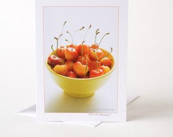 Photo Greeting Card, Blank Card, Photo Card, Cherries, Bowl of Cherries