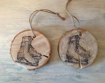 Ice Skates Tree Branch Ornament